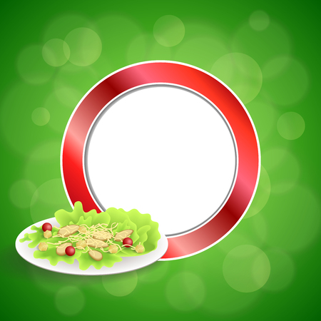 crackers: Abstract background food chicken Caesar salad tomato crackers green red circle frame illustration vector Illustration