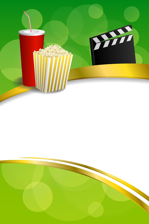 movie clapper: Background abstract green gold red drink popcorn movie clapper board gold frame ribbon vertical illustration vector Illustration