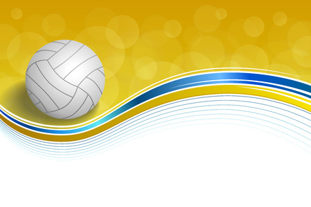 voleibol: Resumen de antecedentes deporte de voleibol amarillo azul marco de pelota ilustración vectorial