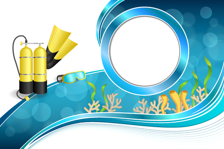aqualung: Background abstract blue diving sport yellow aqualung flippers mask circle frame illustration vector Illustration