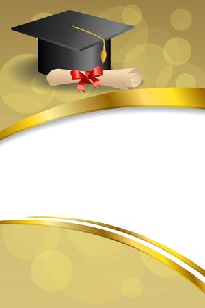 背景抽象ベージュ教育卒業キャップ ディプロマ赤弓垂直ゴールド リボン イラスト