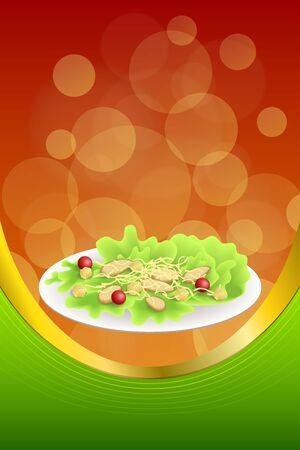 chicken caesar salad: Background abstract food chicken Caesar salad tomato crackers green red orange frame vertical gold ribbon illustration vector
