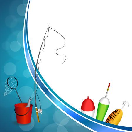 redes de pesca: Fondo abstracto azul blanco caña de pescar peces cubo rojo cuchara neta del flotador amarillo marco verde ilustración vectorial Vectores
