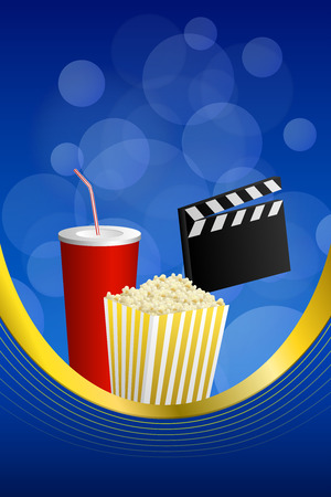 movie clapper: Background abstract cinema blue red drink yellow popcorn movie clapper board frame vertical gold ribbon illustration vector Illustration