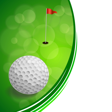 Background abstract golf sport green red flag white ball frame illustration vector