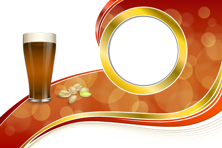pistachios: Background abstract red gold drink glass dark beer pistachios circle frame illustration vector