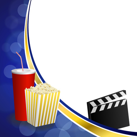 arts culture and entertainment: Background abstract blue gold drink popcorn movie clapper board frame illustration vector Illustration