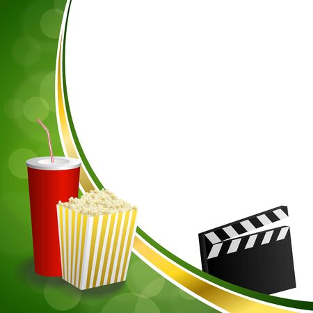 movie clapper: Background abstract green gold drink popcorn movie clapper board frame illustration vector