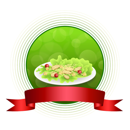 crackers: Abstract background food chicken Caesar salad tomato crackers green red orange circle frame ribbon illustration vector