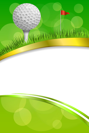 Background abstract green golf sport white ball red flag club frame vertical gold ribbon illustration vector Ilustração