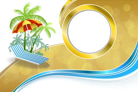 swirl backgrounds: Background abstract summer beach vacation deck chair umbrella blue yellow frame wave illustration vector
