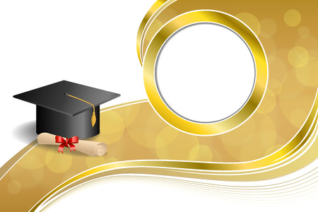 gold swirls: Background abstract beige education graduation cap diploma red bow gold circle frame illustration vector