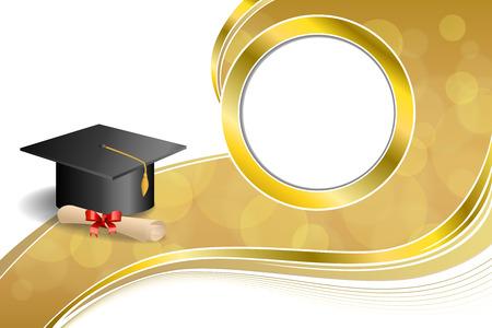 graduacion caricatura: Resumen de antecedentes de color beige educación graduación del diploma del casquillo arco rojo Marco de círculo de oro ilustración vectorial Vectores