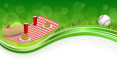 背景抽象的な緑の草ピクニック バスケット ハンバーガー ドリンク野菜野球ボール フレーム イラスト
