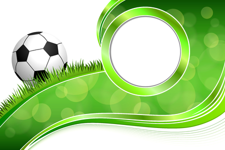 Background abstract green grass football soccer ball frame circle illustration vector Ilustração
