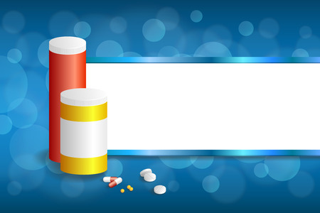 red pill: Background abstract blue white medicine tablets red pill plastic yellow bottle packages stripes frame illustration vector Illustration