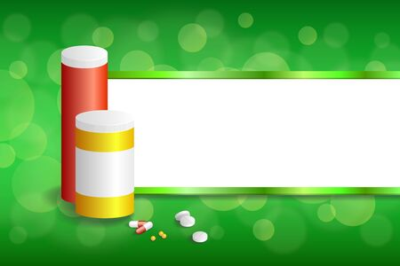 red pill: Background abstract green white medicine tablets red pill plastic yellow bottle packages stripes frame illustration vector Illustration