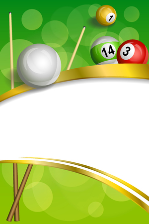 pool cue: Background abstract green billiards pool cue red ball frame vertical gold ribbon illustration vector