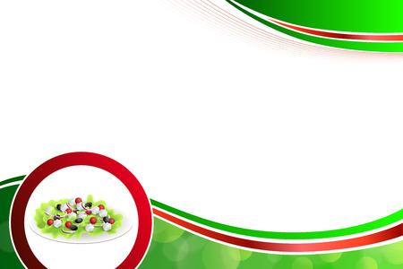 抽象的な背景食品ギリシャ サラダ トマト フェタ チーズ緑黒オリーブ赤タマネギ緑黄色枠イラスト