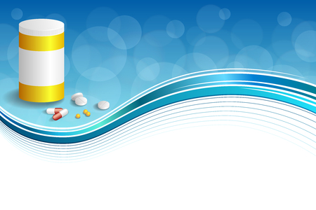 red pill: Background abstract blue white medicine tablets red pill plastic yellow bottle packages frame illustration vector