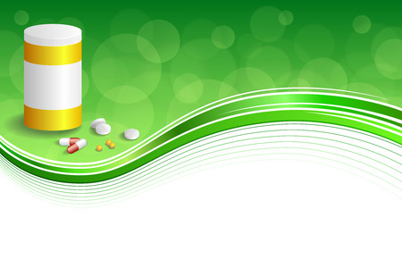red pill: Background abstract green white medicine tablets red pill plastic yellow bottle packages frame illustration vector
