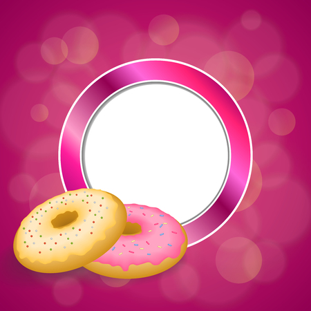 glazed: Background abstract pink yellow baked donut glazed ring circle frame illustration vector