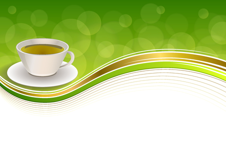 green tea cup: Background abstract drink green tea cup gold frame illustration vector