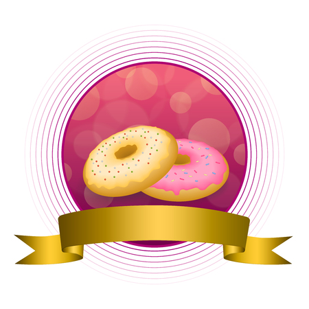 glazed: Abstract background food pink yellow baked donut glazed ring gold circle frame ribbon illustration vector Illustration