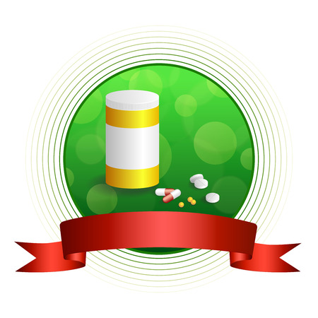 red pill: Background abstract green white medicine tablets red pill plastic yellow bottle packages circle frame ribbon illustration vector Illustration