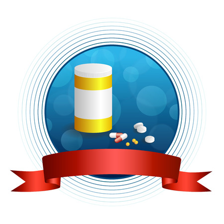 red pill: Background abstract blue white medicine tablets red pill plastic yellow bottle packages circle frame ribbon illustration vector Illustration