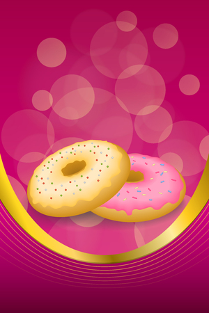 glazed: Background abstract food pink yellow baked donut glazed ring frame vertical gold ribbon illustration vector
