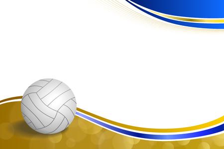 Achtergrond sport volleybal blauw gele bal frame illustratie vector Stock Illustratie