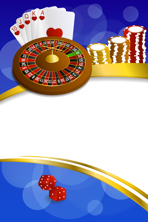 craps: Background abstract blue casino roulette cards chips craps frame vertical gold ribbon illustration vector