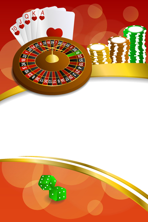 craps: Background abstract red casino roulette cards chips craps frame vertical gold ribbon illustration vector Illustration
