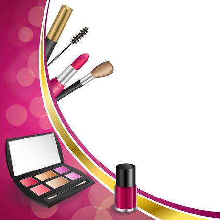 cosmeticos: Cosméticos fondo de color rosa abstractos componen el lápiz labial ojo rimel clavo pulimento sombras marco de la cinta de oro ilustración vectorial