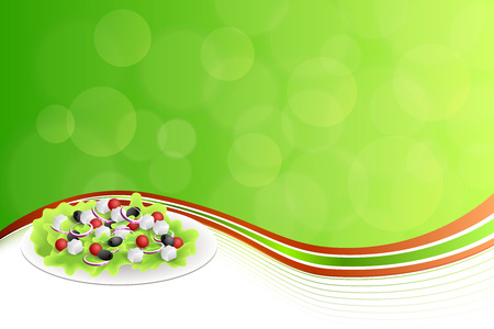 olive green: Abstract background food Greek salad tomato feta cheese green black olives onion red green yellow frame illustration vector