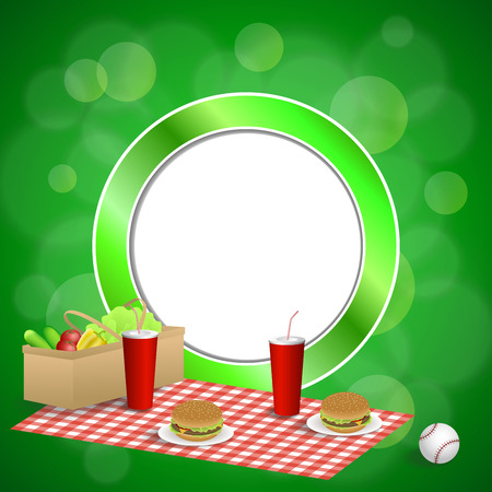Background abstract green picnic basket hamburger drink vegetables baseball ball circle frame illustration vector