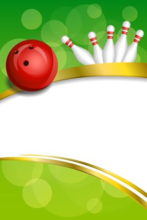 Background abstract green bowling red ball gold frame ribbon vertical illustration vector