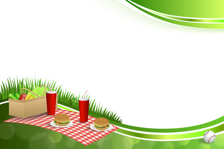 basket: Background abstract green grass picnic basket hamburger drink vegetables baseball ball frame illustration vector