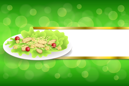 crackers: Background abstract food chicken Caesar salad tomato crackers green red orange yellow gold stripes frame illustration vector