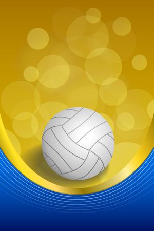 pelota de voleibol: Antecedentes de voleibol abstracto azul bola blanca cinta de oro amarillo de estructura vertical ilustraci�n vectorial