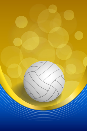 volleyball: Background abstract volleyball blue yellow white ball gold ribbon vertical frame illustration vector