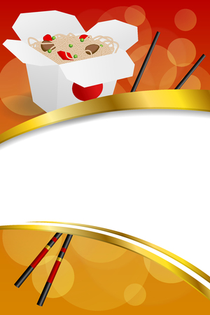 ribbon background: Background abstract Chinese food white box black sticks red yellow frame vertical gold ribbon illustration vector