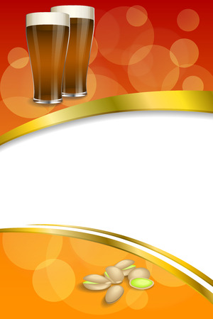 pistachios: Background abstract red gold drink glass dark beer pistachios vertical frame illustration vector Illustration