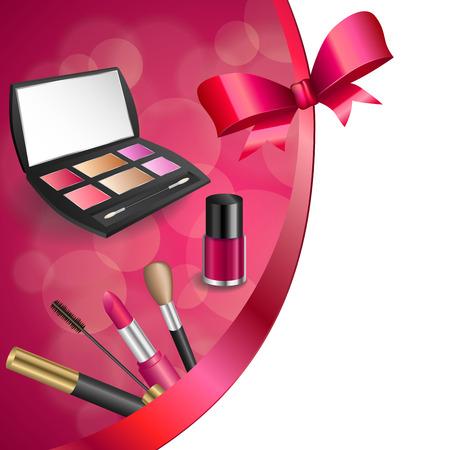 eye shadows: Background abstract pink cosmetics make up lipstick mascara eye shadows nail polish bow ribbon frame illustration vector