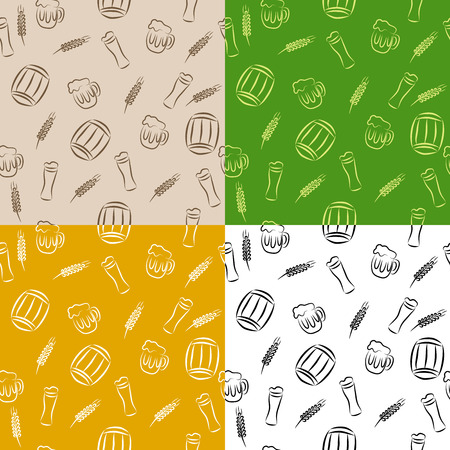 green wheat: Abstract pattern beer glass barrel cup wheat brown beige orange yellow green white black seamless illustration vector