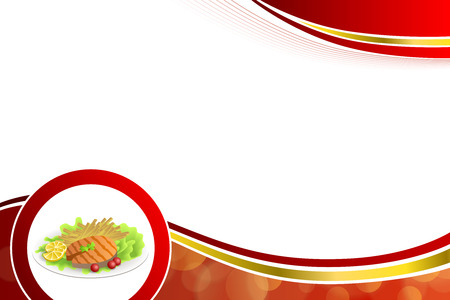 grilled salmon: Abstract background food grilled salmon fish tomato French fries lemon yellow salad green red gold frame circle illustration vector