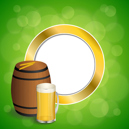 frothy: Abstract background green barrel drink glass beer yellow wheat gold circle frame illustration vector