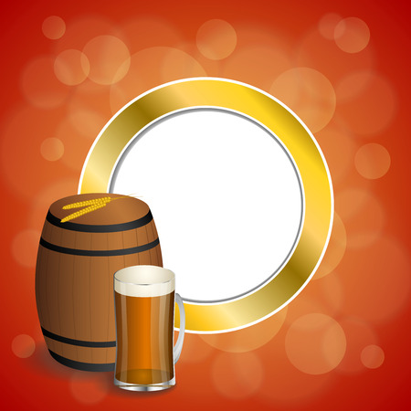 dark lager: Abstract background red barrel drink glass dark beer yellow wheat gold circle frame illustration vector