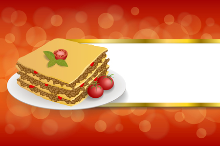 lasagna: Abstract background lasagna food meat tomato yellow green red stripes gold frame illustration vector